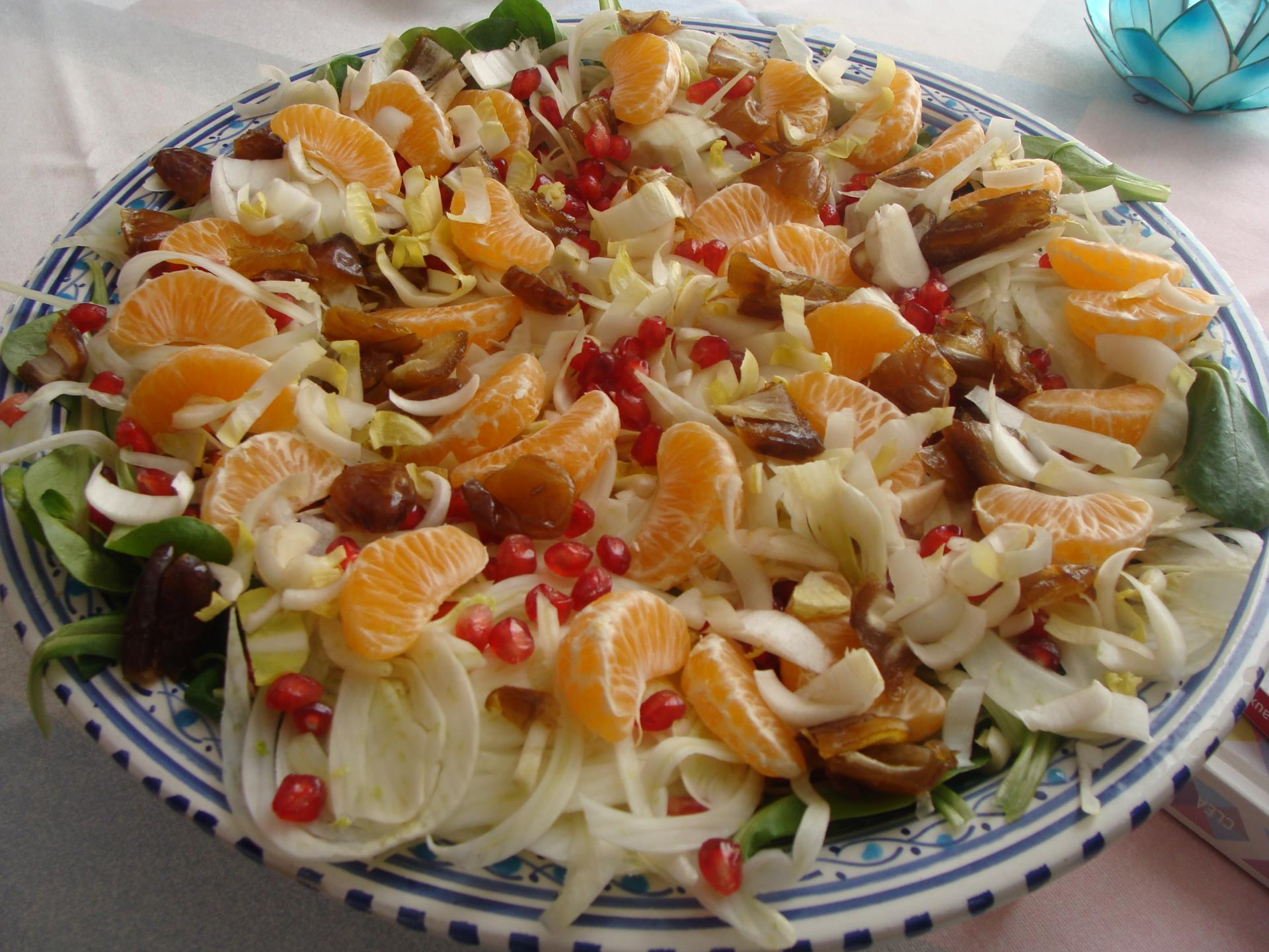 SALADE DE FETE AUX FENOUIL, ENDIVE, ORANGE, DATES